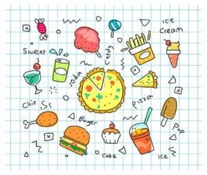 colorful doodle, soda, cartoon