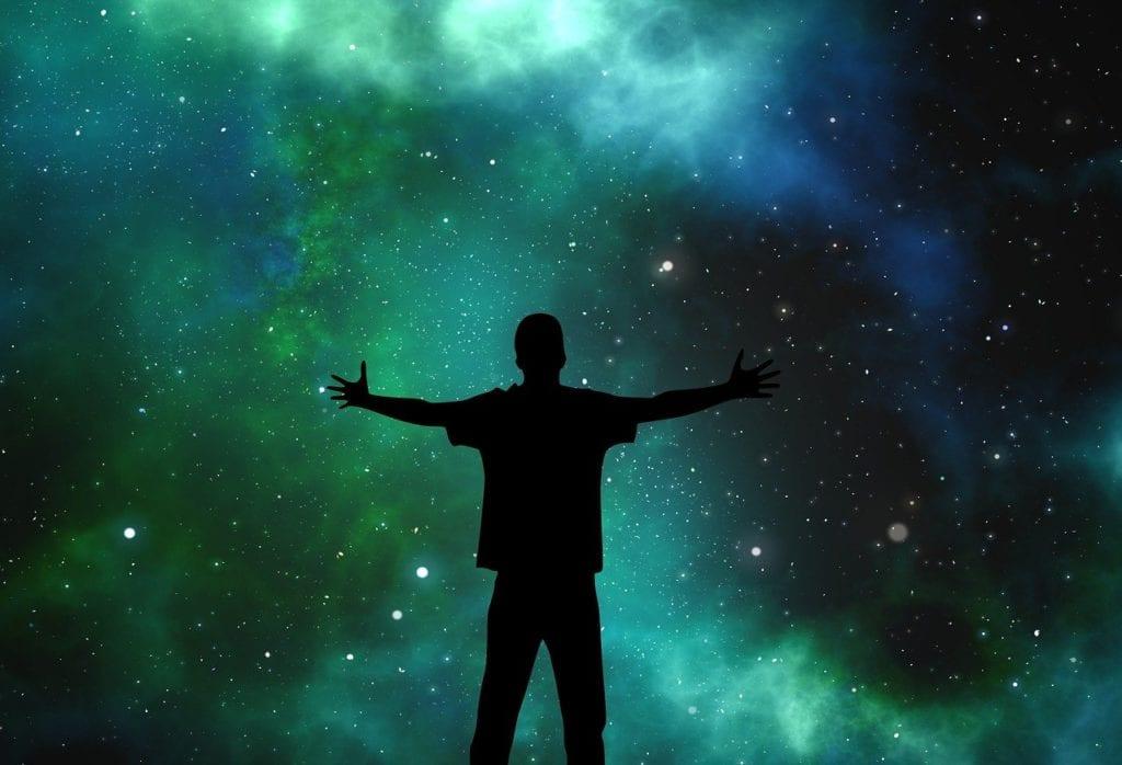 universe, person, silhouette