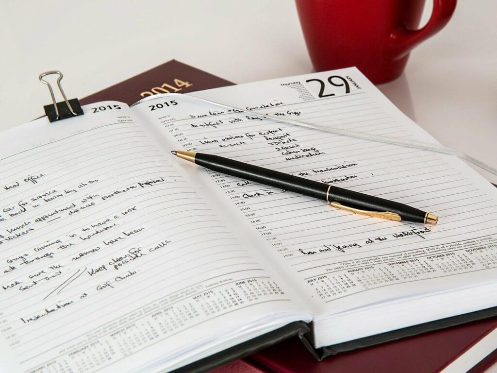 diary, journal, pen